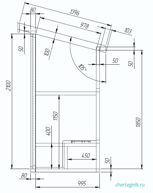 чертеж деревянного туалета