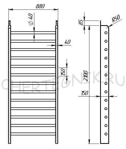 Размеры шведской лестницы своими руками