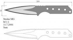 Чертеж метательного ножа с размерами