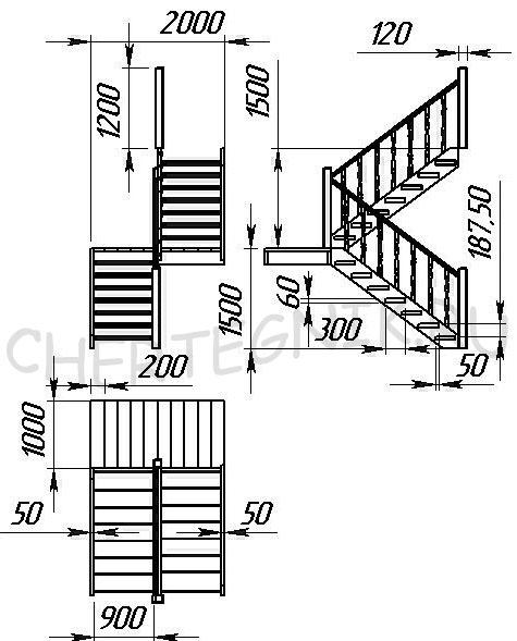 чертеж деревянной лестницы