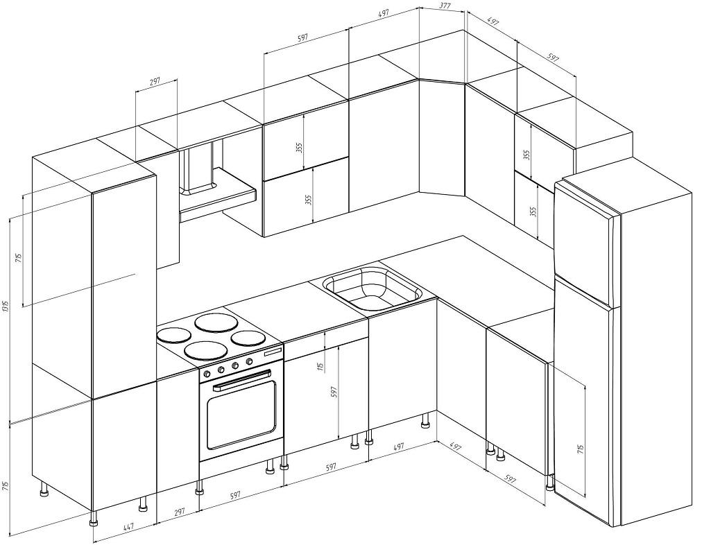 Кухни схемы чертежи картинки грибы красном