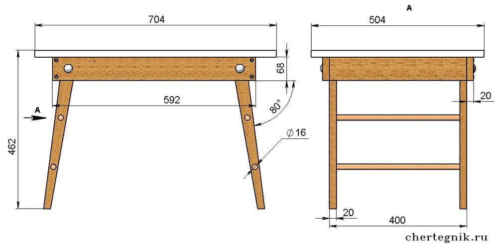 Стол с выдвижными ящиками своими руками из дерева чертежи 46