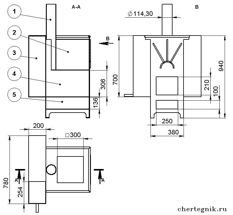 Конструкция банной печи из металла своими руками 45