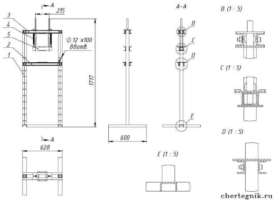 Пресс своими руками из домкрата чертежи и размеры схемы и проекты 28